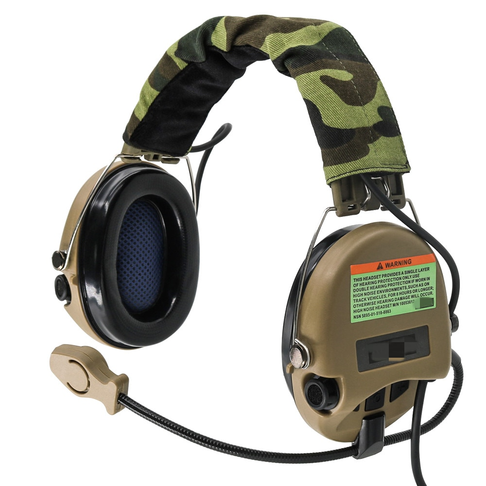 TCIHEADSET Tactical MSASORDIN Headset Pickup and Noise Reduction Headphones Hunting Airsoft Tactical Headset Shoting Earmuffs DE