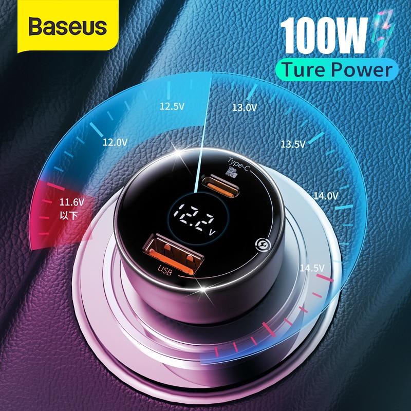 Baseus PD 100 واط سيارة شاحن سريع تهمة QC4.0 QC3.0 PD 3.0 شحن سريع آيفون 12 برو ماكس سامسونج شاومي سيارة شاحن الهاتف
