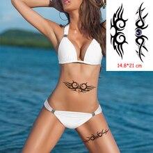 Waterproof Temporary Tattoo Sticker totem line black classical tatoo Body Art Arm leg fake tattoos Women/Men girl 14.8*21 cm