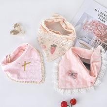 Super Quality 3pcs/lot Baby Bibs Triangle Double Layer Cotton Lace Baby Boys Girls Feeding Apron Bandana Bibs Newborn Slabber