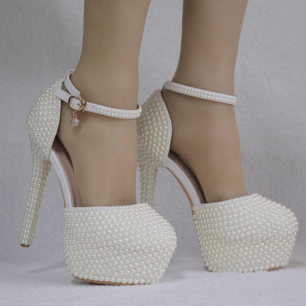 Cristal reina perlas Stilettos mujer marfil punta puntiaguda sandalthin tacones altos elegantes bombas mujeres fiesta boda zapatos
