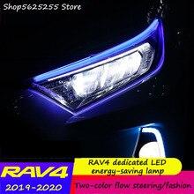 Luces de circulación diurna, dosel de reacondicionamiento, señal de giro Bicolor LED para Toyota RAV4 RAV-4 2019 2020, decoración para coche Whtie azul y amarillo