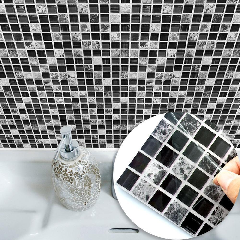 10 Uds autoadhesivo mosaico azulejo pegatina, cocina Backsplash baño pared azulejos pegatinas decoración impermeable cáscara