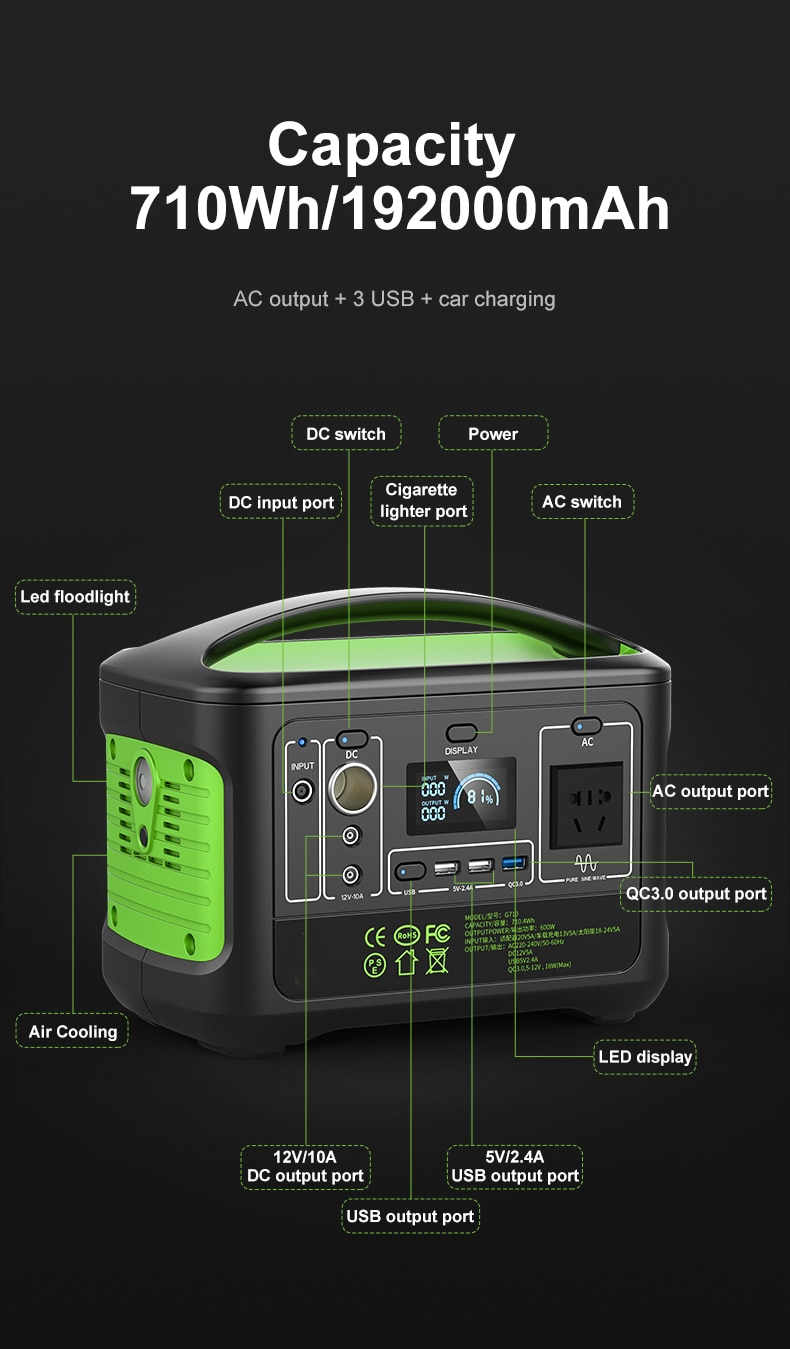 SUGINEO G710 Big Capacity Outdoor PortablePower Station for Personal Electric Devices Camping Fishing Hunting Party Outside Work