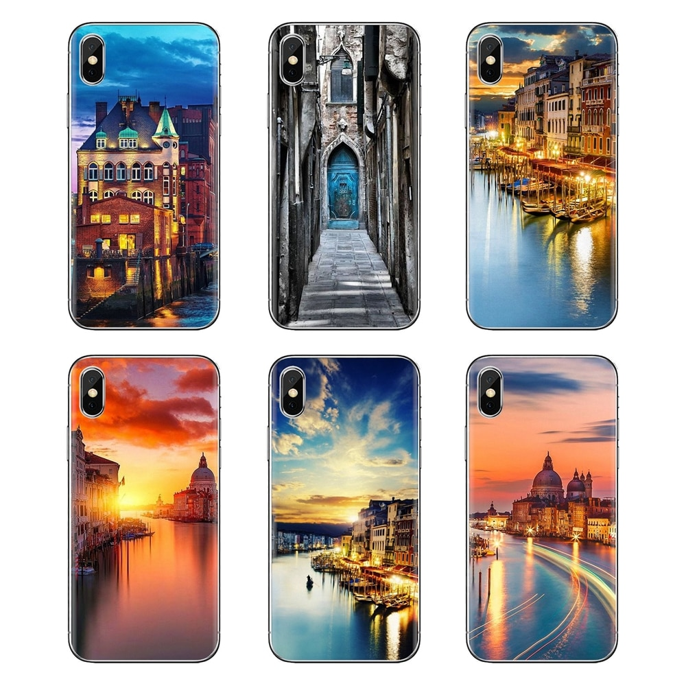 Für Xiaomi Mi3 Samsung A10 A30 A40 A50 A60 A70 Galaxy S2 Note 2 Grand Core Prime TPU Abdeckungen Wasser stadt Venedig Italien Sunset Drucken