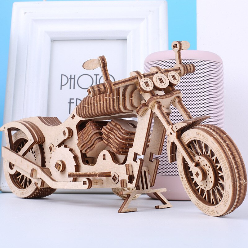 Building  Wooden Mechanical Model Creative 3D Three-Dimensional Jigsaw Puzzle DIY Handmade Fight Inserted Motorcycle