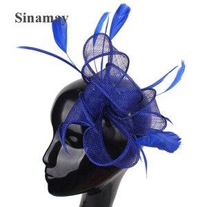 Sinamay свадебные головные уборы фантазии невесты сетки ободок-Вуалетка ручной работы с цветочным принтом повязка на голову, для торжественно...