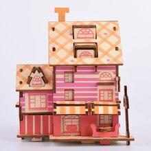 DIY Educational Toys Children's Wooden Puzzle Peace Coffee Shop 3D Puzzles DIY Kingergarden Art Craft Handmade Toys For Children