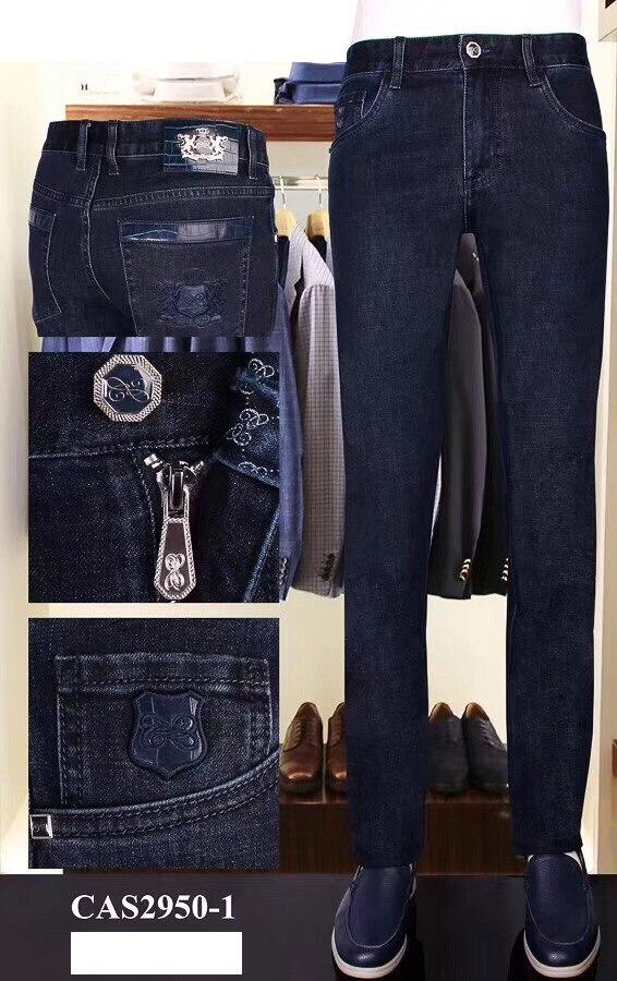 Multillonaire Jeans hombres 2019 invierno nuevo algodón piel de vaca moda negocios casual bordado cremallera gruesa alta calidad envío gratuito