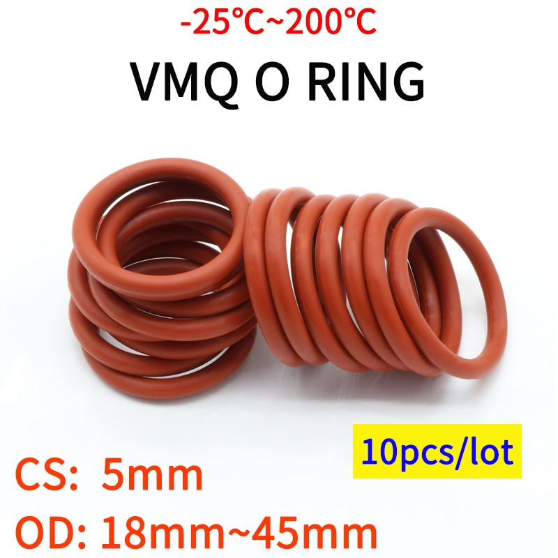 AliExpress - 10pcs VMQ Red Silicone O Ring CS 5mm OD 18~45mm FoodGrade Waterproof Washer Rubber Insulated Round O Shape Seal Gasket