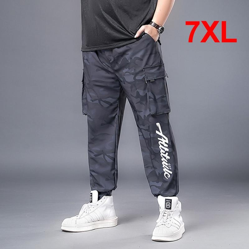 Джоггеры мужские, уличная одежда, камуфляжные брюки, мешковатые тренировочные брюки, модные повседневные брюки размера плюс 7XL, камуфляжные...