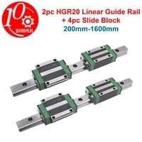 square linear guide rail 2pcshgr20hgr15hgr25 flange slide block carriages 4pcs hgh20cahgw20cchgh15ca kit for cnc rail
