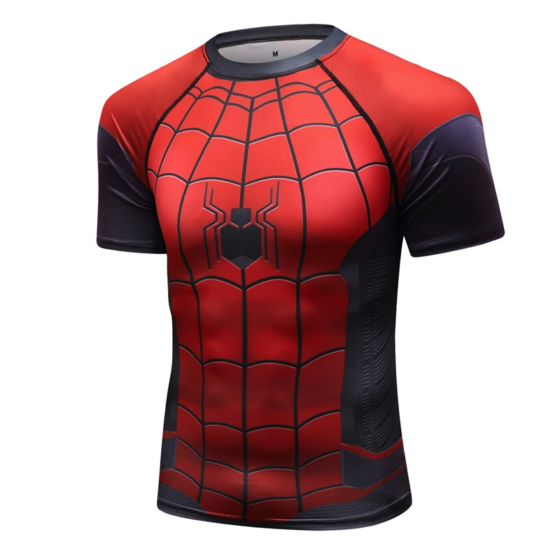 Fitness Training Tights Raglan Sleeve Compression Shirts Men 3D Printed T shirts Short Sleeve Cosplay Costume Tops Male