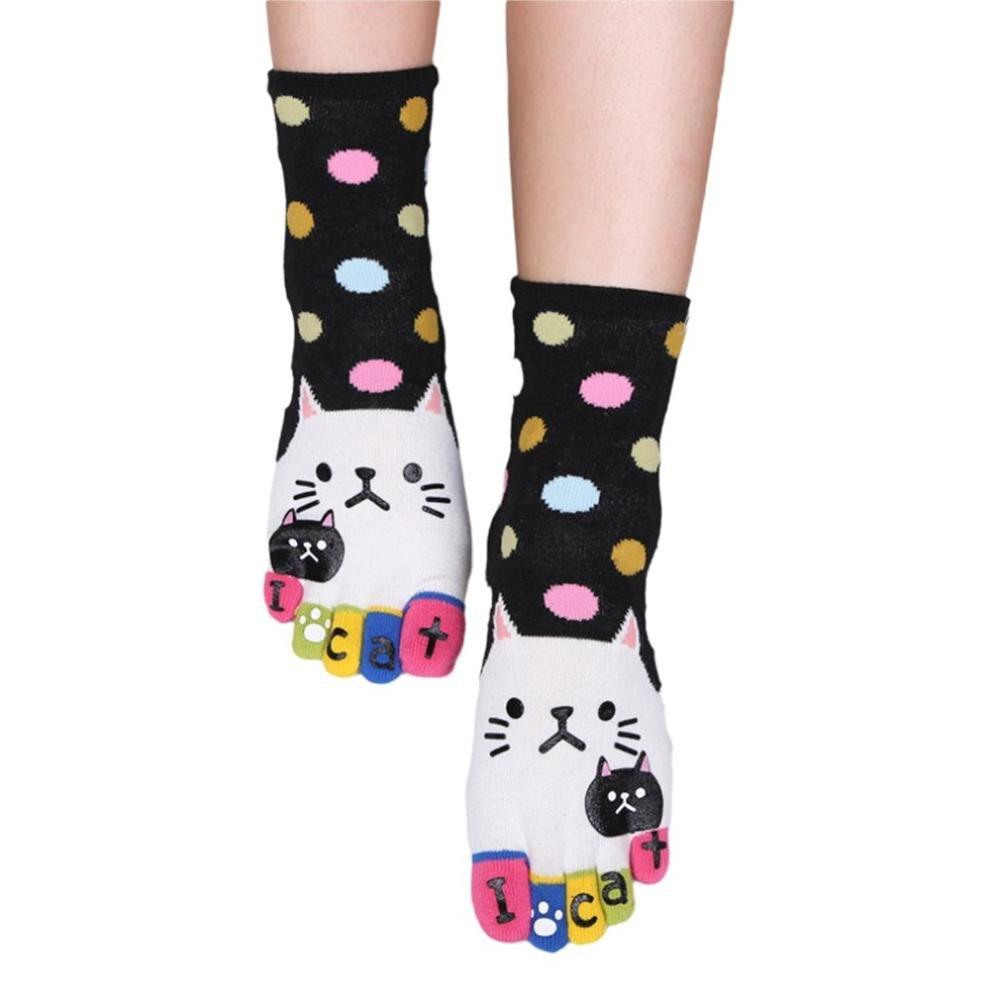 Cute Baby Kids Girls Boys słodki kociak miękkie pięć palców Cartoon skarpetki w zwierzątka pończosznicze skarpetki z palcami skarpetki damskie