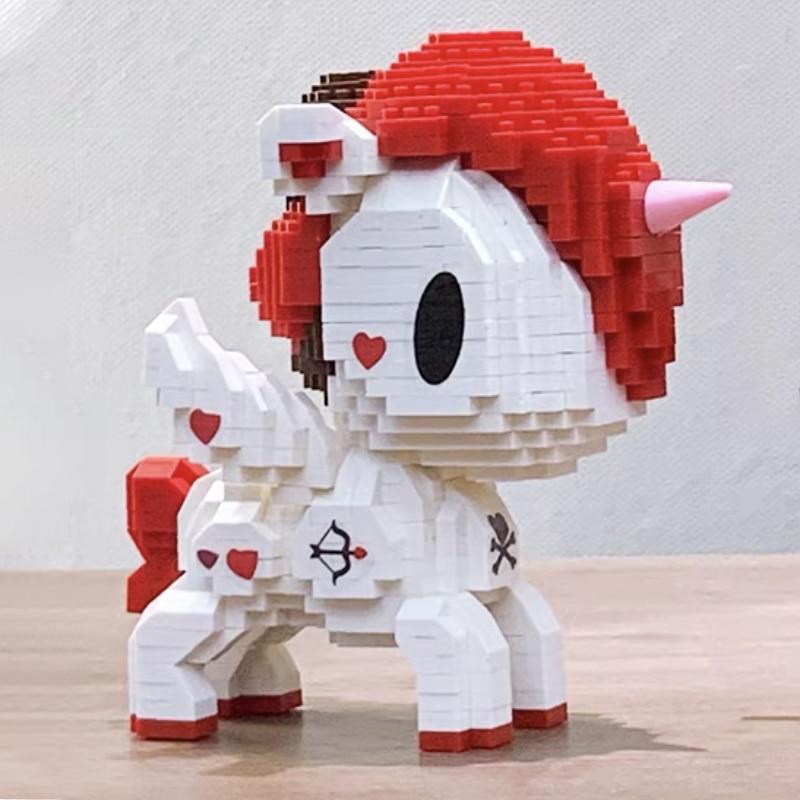 Creative Series Cute Unicorn Mini Blocks Blocks Cartoon Pegasus 3D Model for Children's Birthday Gifts Christma Decorations