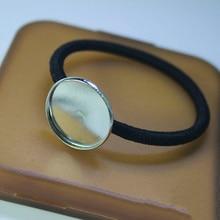 10 pièces réglage de la bande de cheveux 20/25mm Cabochon support de Base avec élastique bande corde épingle à cheveux pour bijoux à bricoler soi-même faire des résultats accessoires