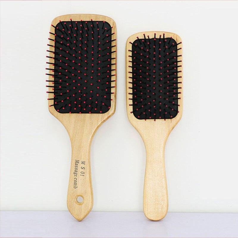 Requintado e durável de madeira airbag cabelo couro cabeludo massagem pente grande placa knock no pescoço e ombro ferramenta estilo pente dl