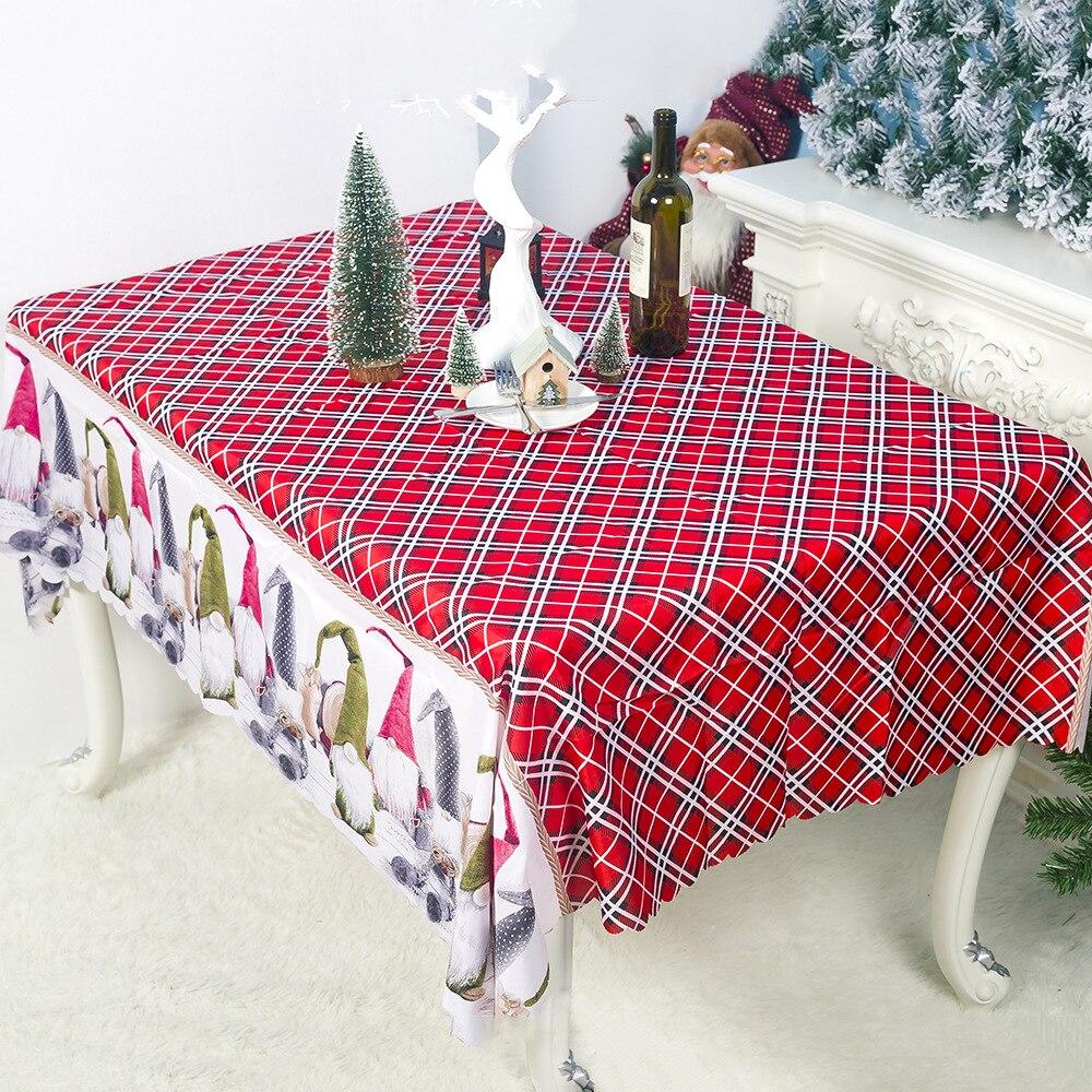 Decoração do natal Dos Desenhos Animados Impressão Toalha de mesa de Poliéster Navidad Suprimentos Festival Hовый Rод 2021
