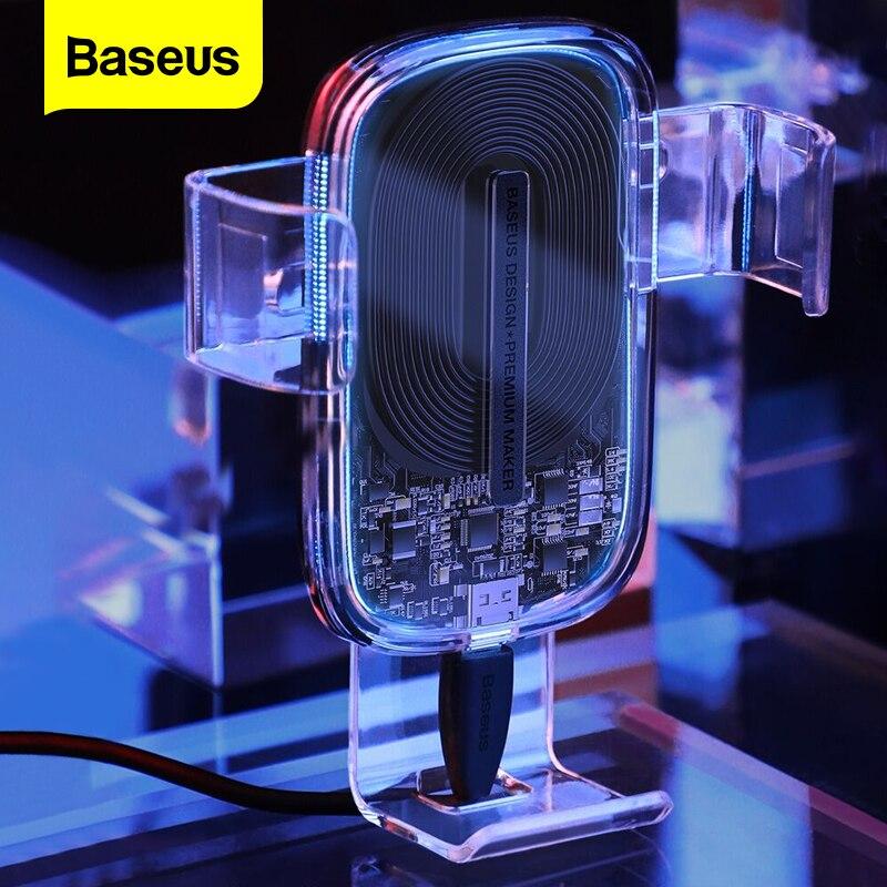 Baseus 15w carregador de carro sem fio para iphone 11 pro rápido carro sem fio carregamento titular para samsung s20 xiaomi mi 9 gravidade carregador