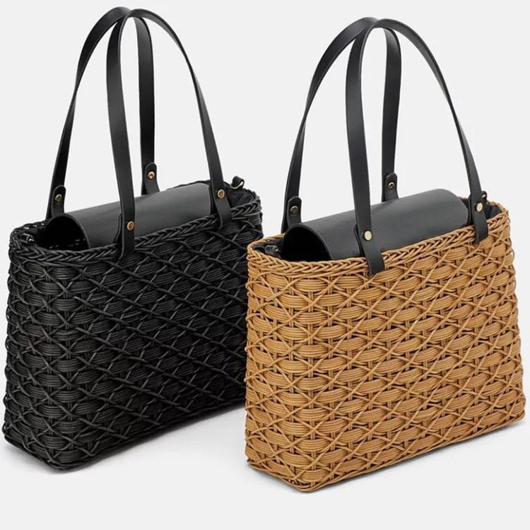 Fashion Woven Rattan Bags for Women Handbag Designer Patchwork Wicker Braided Shoulder Crossbody Bag Female Tote Beach Straw