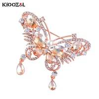kioozol luxury crystal flower butterfly pink red color cubic zirconia brooch for women insect style vintage jewelry gift 181 ko2