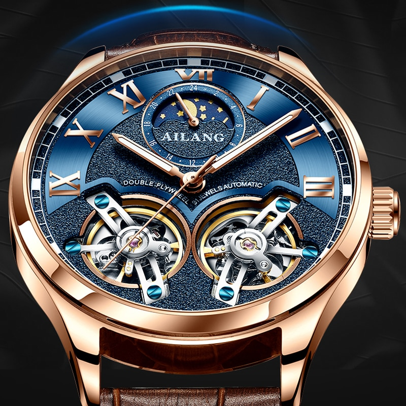 AILANG موضة توربيون الرجال الميكانيكية ساعات المعصم الفاخرة العلامة التجارية الأصلية ساعة ذات تصميم رائع رجال الأعمال الرياضية مزدوجة