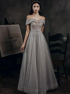 Beading Prom Dresses Long 2020 V Neck Light Gray High Split Tulle Sleeveless Evening Gown A-Line Backless Vestido De