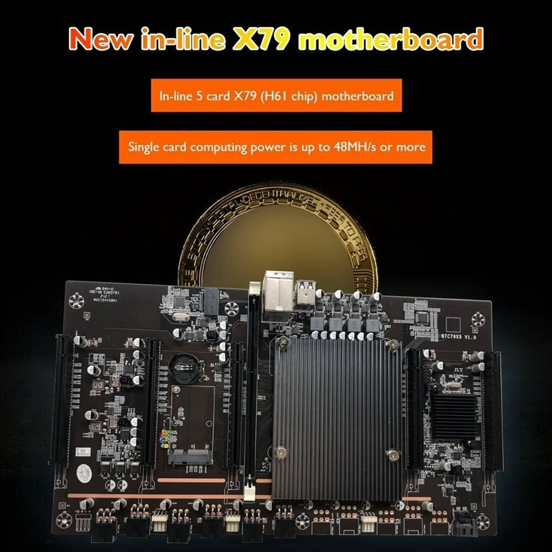 HOT-X79 H61 BTC Mining Motherboard With E5-2620 2011 CPU+RECC 8G DDR3 Memory+120G SSD Support 3060 3080 Graphics Card