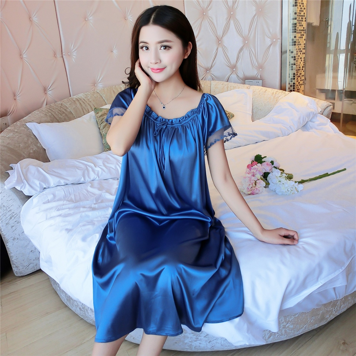 Vestido de noche Sexy de encaje azul para mujer