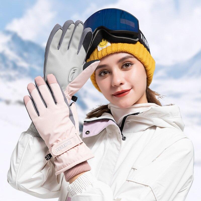 Женские велосипедные перчатки, зимние женские осенне-зимние теплые ветрозащитные водонепроницаемые велосипедные спортивные хлопковые пе...