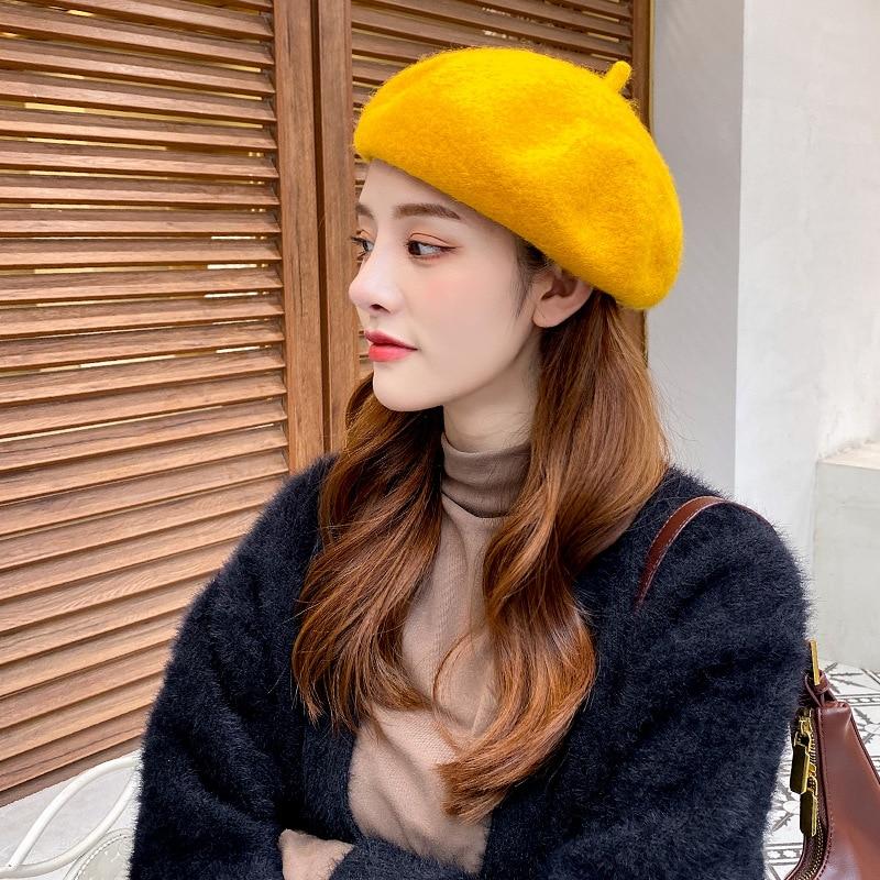 Autumn and winter Korean fashion hat beret female pumpkin hat retro British painter hat