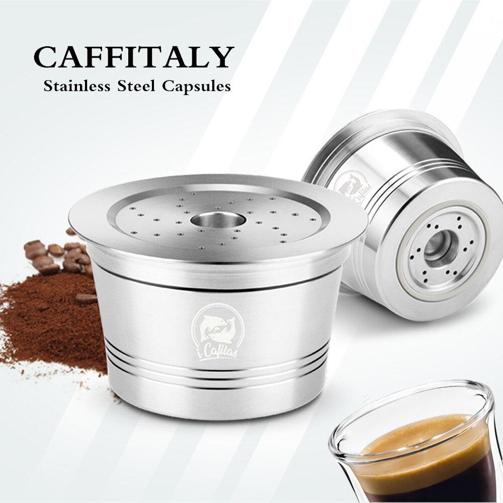 Filtros de café iCafilas para Caffitaly Tchibo Cafissimo k-fee rellenable, cápsula de Crema, Tamper de café de acero inoxidable