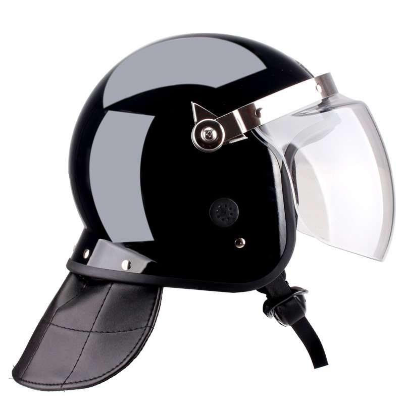Riot Proof Helmet with Face Shield Security Guard On Duty Fire Prevention Leather Neck Protection Airy Safety Helmet