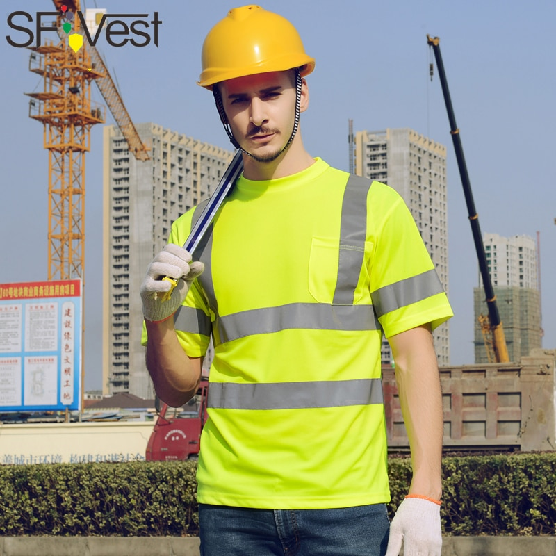 Camisa sf Hi vis de alta visibilidad reflectante de seguridad, camiseta de manga corta ens, camiseta de trabajo de seguridad, camiseta fluorescente amarilla para hombre