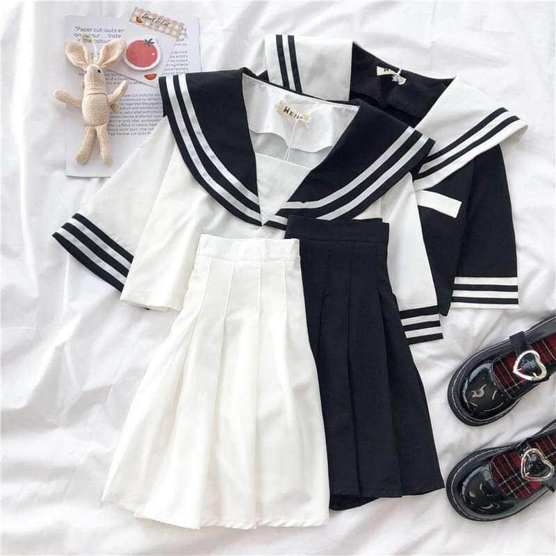 الصيف 2 قطعة مجموعة النساء jk موحدة طالبة مطوي قصيرة تنورة كلية نمط الزي المدرسي اليابانية قصيرة بحار دعوى