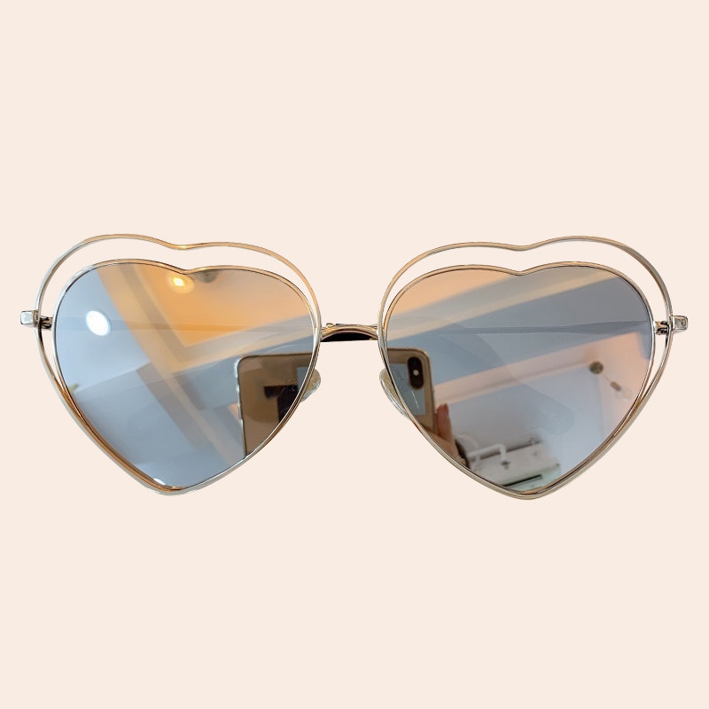En forma de corazón de gafas de sol con montura de aleación de gradiente de Color de lujo gafas de sol de mujer UV400 espejo sombras