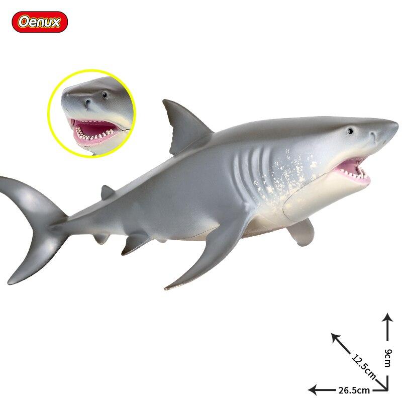 Oenux Original Megalodon modelo de tiburón grande animales de la vida marina figura de acción salvaje tiburón blanco grande Oean Animal figura de juguete para los niños