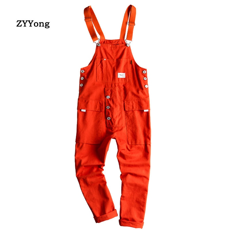 2020 New Mens Bib Overalls Jumpsuits Moto Biker Jeans Pants Trousers Male Solid Casual Long Pants Clothing