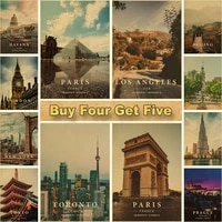 home decor vintage travel poster new york city posters kraft paper landscape art painting living room bar wall picture