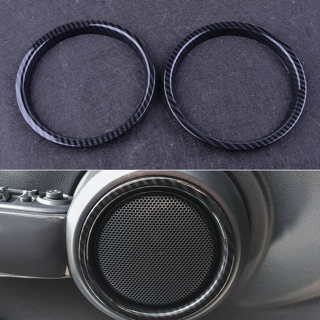 Beler plástico 1 par de estilo de fibra de carbono Interior puerta altavoz anillo cubierta ajuste para Mini Cooper F56 F57 2016 2017 2018 2019