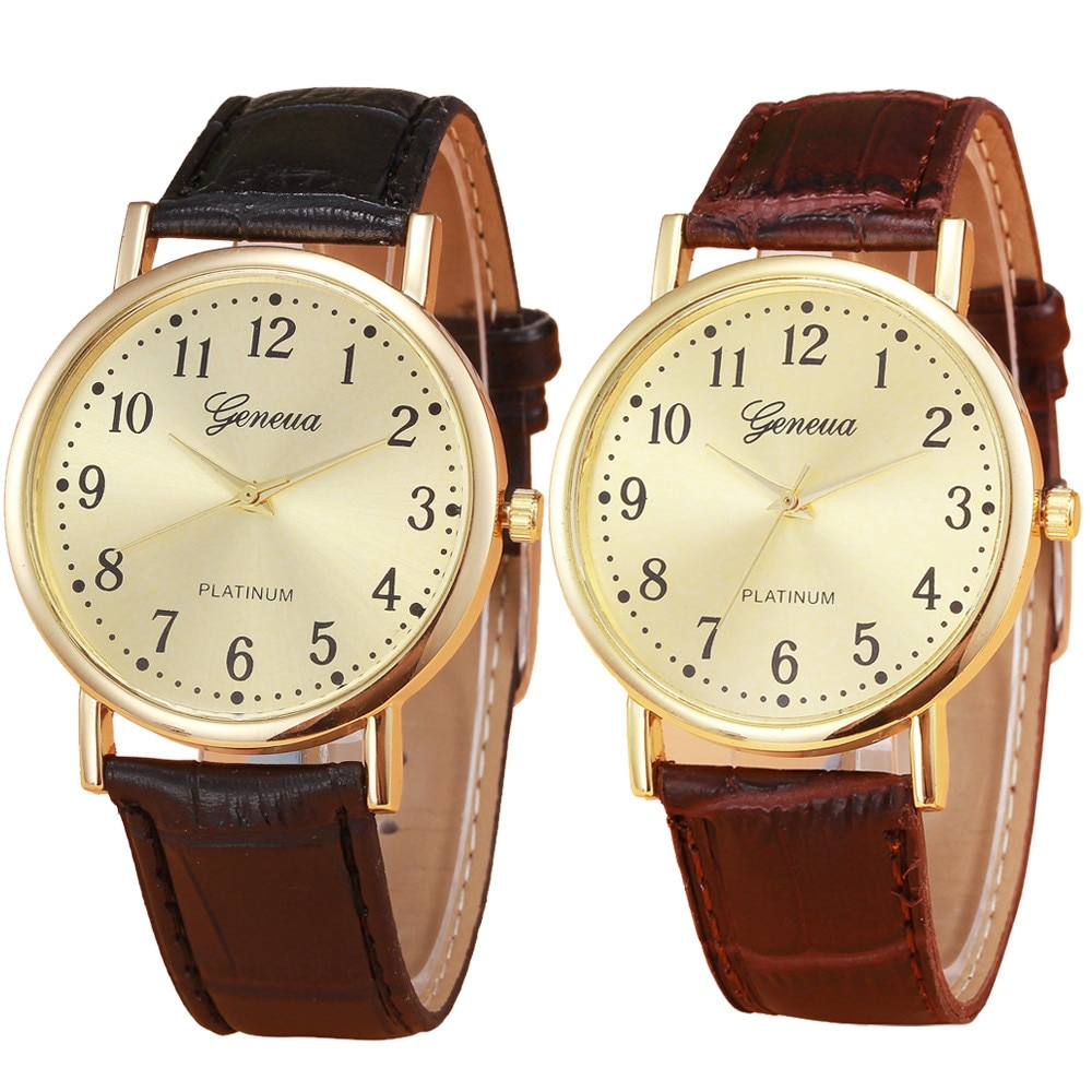 Gold Luxury Fashion Dial Quartz Wristwatches Woman Mens Retro Design Leather Band Analog Alloy Quart