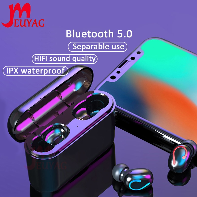 Auriculares Blutooth inalámbricos MEUYAG TWS Auriculares manos libres estéreo auténticos Auriculares deportivos para juegos Auriculares Bluetooth 5,0 Auriculares