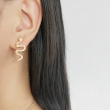 Fashion Punk Long Snake Earrings Gold Color Personality Stud Earings For Women Vintage Animal Brinco