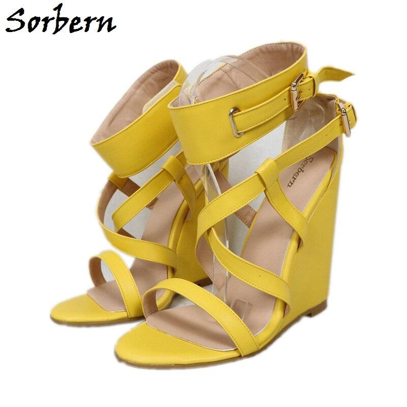Sorbern-صندل نسائي بكعب ويدج ، حذاء صيفي بنعل سميك مع حزام كاحل ، حذاء للجنسين ، مقاس كبير 34-46