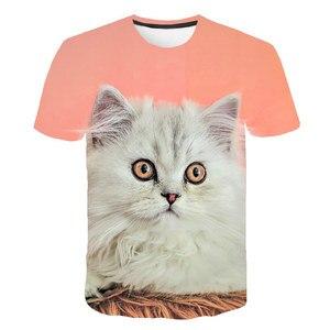 2021 Cat Summer T Shirt For Choldren Boys Girls 3D Animal Printed Short Tee T-shirt Polyester Tshirt Kids Children Clothes 4-14T
