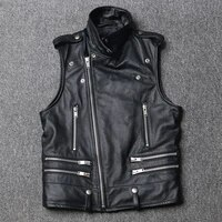 lhfff new motorcycle vest leather garment mens first layer cowhide slim fit youth short fashionable waistcoat motorcycle suit