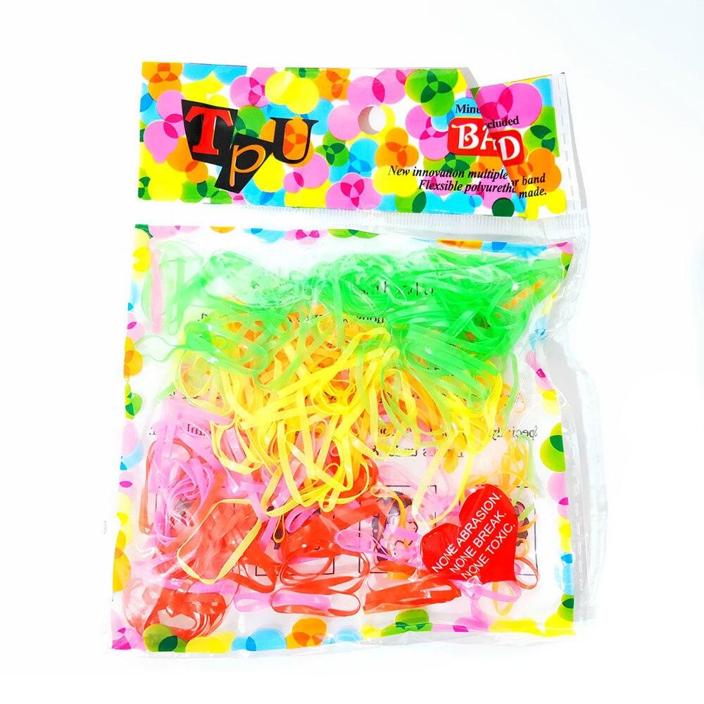 250 unids/bolsa anillos coloridos banda para el cabello cuerda de silicona coleta titular banda de goma Scrunchies Tie Gum Girls accesorios para el cabello
