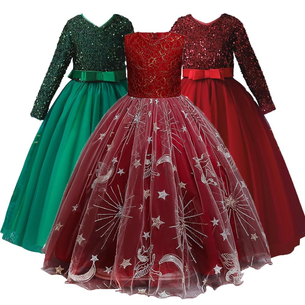 For 4-14Y Long Sleeve Children Dress Princess Dress Bridesmaid Dress 2021 New Wedding Party Dress Fo