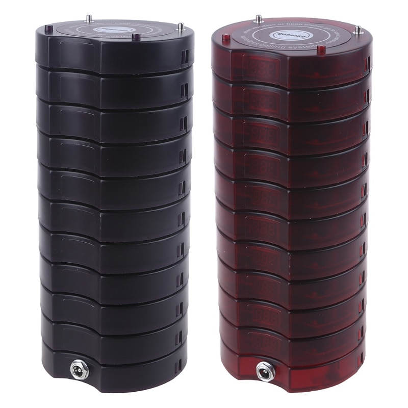 10 Pcs Coaster Pagers Wireless Guest Restaurant Queue Calling System for SU-668