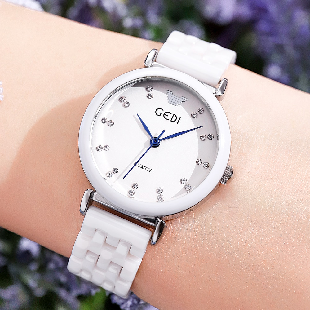 Fashion Ceramics Watch Women's Wristwatch Luxury Brand GEDI Waterproof Casual Dress Ladies Watch Gif